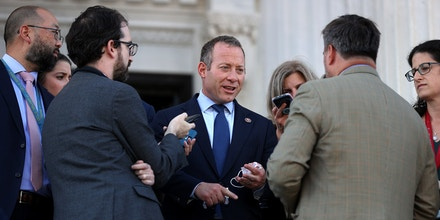 Rep. Josh Gottheimer, D-N.J., talks to reporters following a vote to keep the federal government open until early December outside the U.S. Capitol on Sept. 30, 2021.